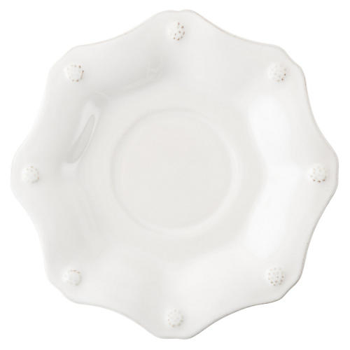 Berry & Thread Scalloped Saucer, White