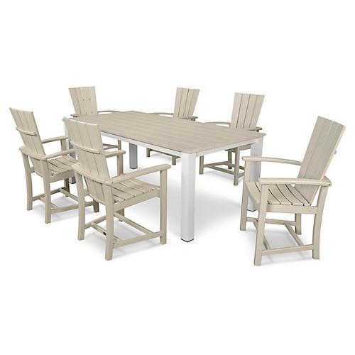 Quattro 7-Pc Dining Set, Sand