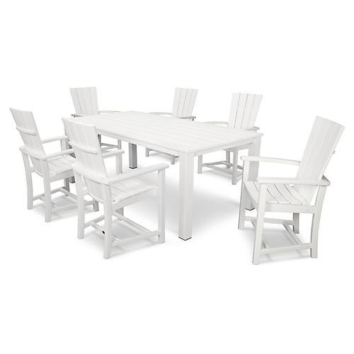Quattro 7-Pc Dining Set, Satin White