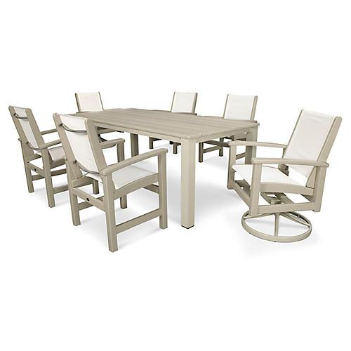 Coastal 7-Pc Harvest Dining Set, White