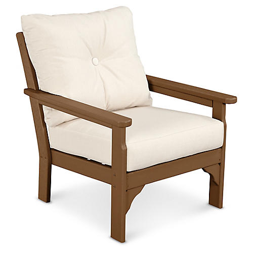 Vineyard Club Chair, Beige Sunbrella