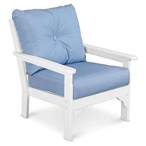 Vineyard Club Chair, Air Blue Sunbrella