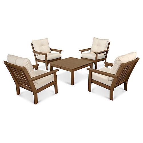 Vineyard 5-Pc Square Lounge Set, Beige Sunbrella