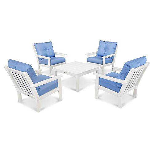 Vineyard 5-Pc Square Lounge Set, Blue Sunbrella