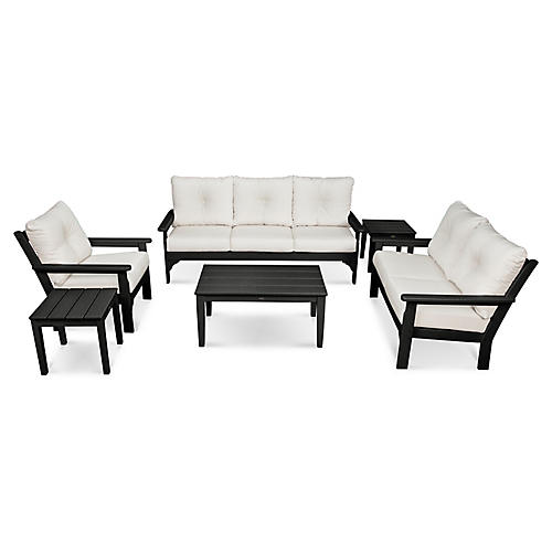 Vineyard 6-Pc Deep Lounge Set, White Sunbrella