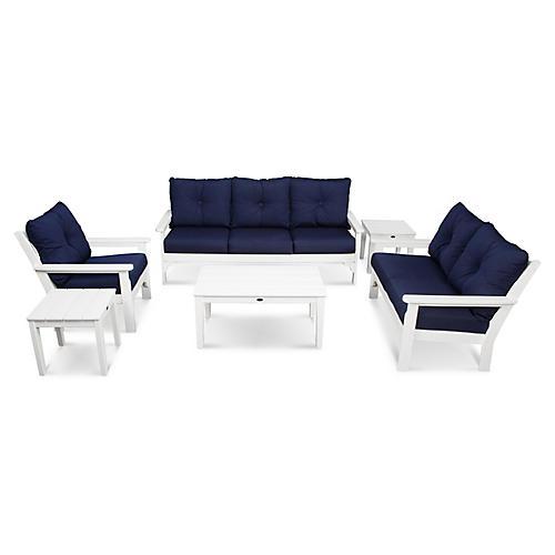 Vineyard 6-Pc Deep Lounge Set, Navy Sunbrella