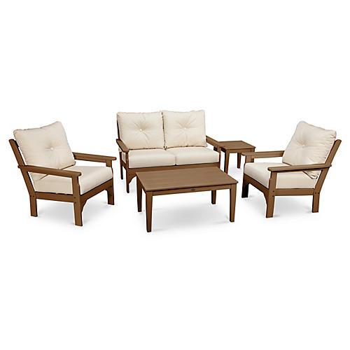 Vineyard 5-Pc Lounge Set, Beige Sunbrella