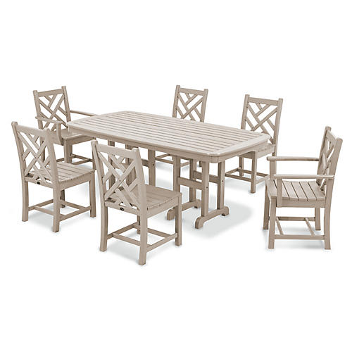Chippendale 7-Pc Dining Set, Sand