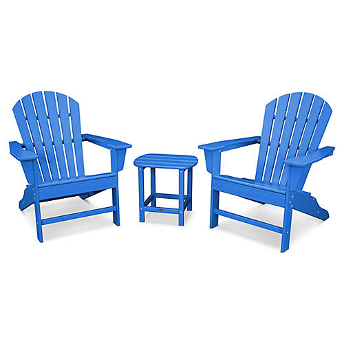 South Beach 3-Pc Adirondack Set, Pacific Blue