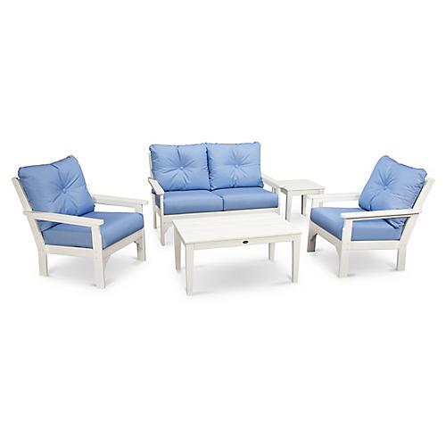 Vineyard 5-Pc Lounge Set, Air Blue Sunbrella