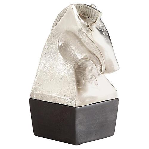 Knight Sculpture, Raw Nickel/Bronze