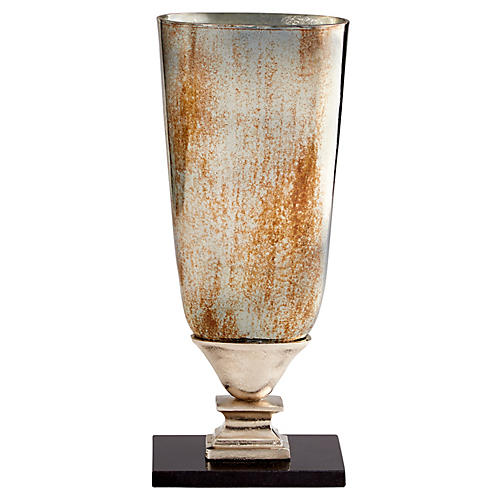 """17"""" Chalice Small Vase, Antiqued Platinum"""