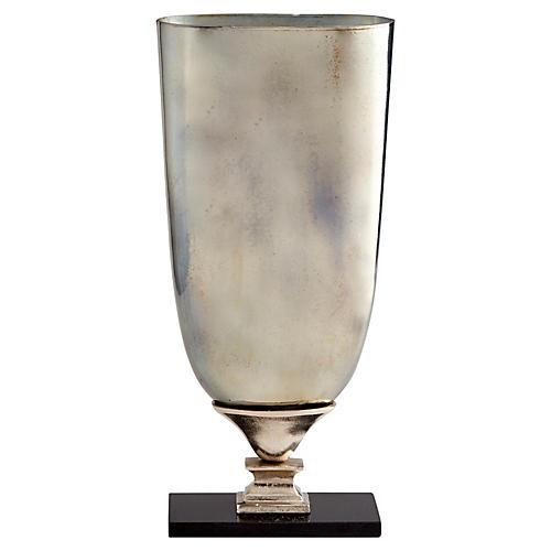 """22"""" Chalice Large Vase, Antiqued Platinum"""