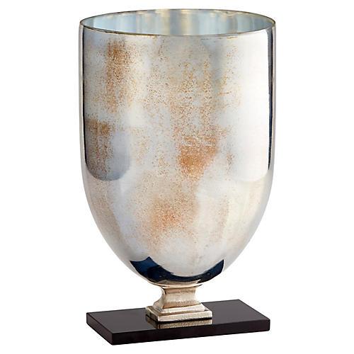"""17"""" Odetta Large Vase, Antiqued Platinum"""