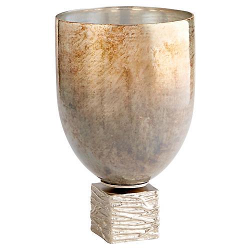 Tassilo Vase, Nickel/Ocean
