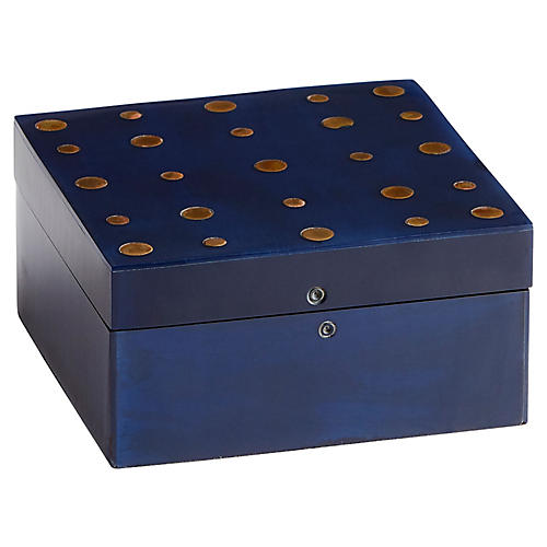 Dotty Decorative Box, Blue/Brass