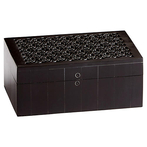 Magnolia Decorative Box, Black