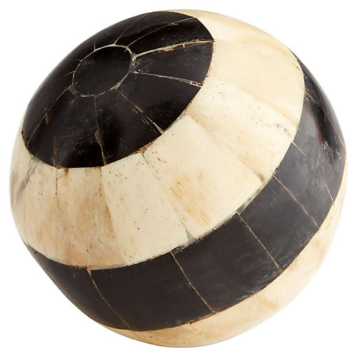 "4"" Pitch Decorative Sphere, Ivory/Black"