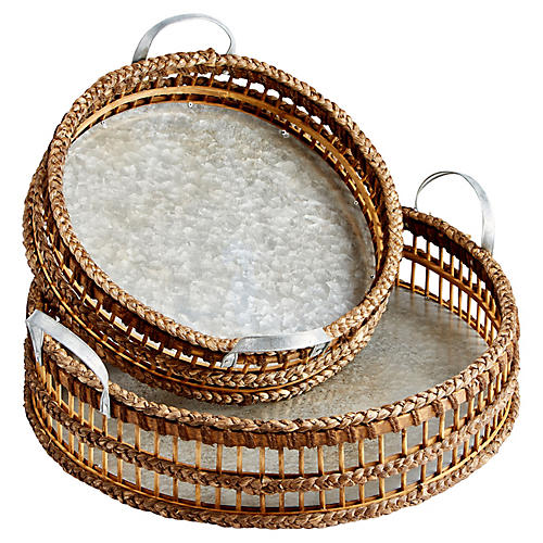 Asst. of 2 Modesto Decorative Trays, Silver/Jute