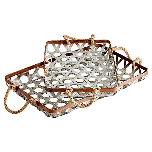 Asst. of 2 Prismo Decorative Trays, Silver
