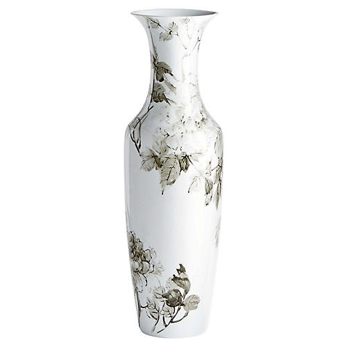"31"" Blossom Vase, Gray/White"