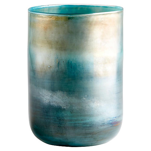 "9"" Reina Small Vase, Ocean/Pyrite"
