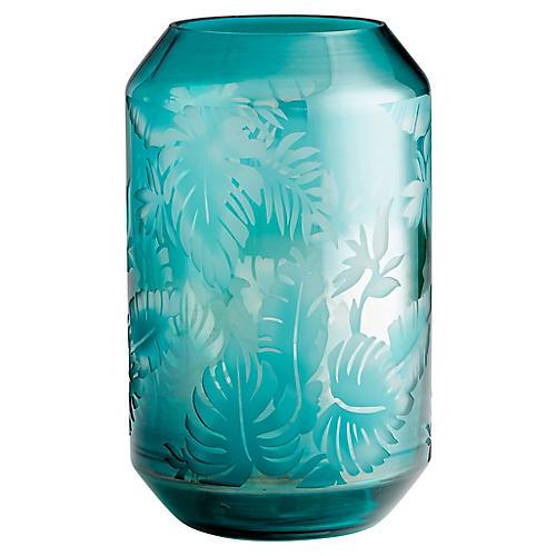 """13"""" Sumatra Large Vase, Turquoise"""