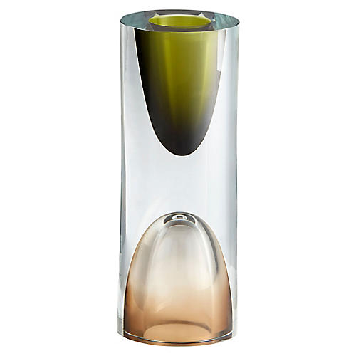 "9"" Majeure Small Vase, Green/Dust"