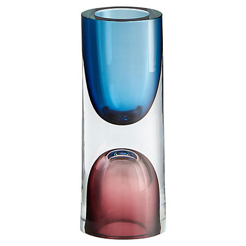 "9"" Majeure Small Vase, Blue/Plum"