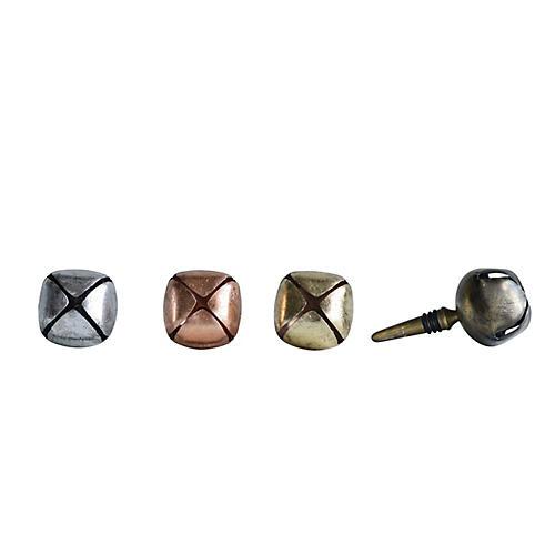 Asst. of 4 Jingle Bell Bottle Stoppers, Gold/Multi