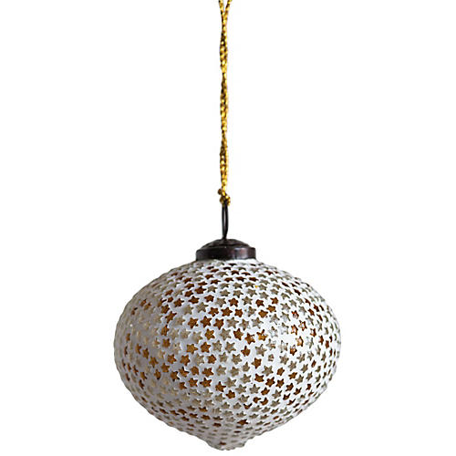 Star Mosaic Ornament, White/Gold
