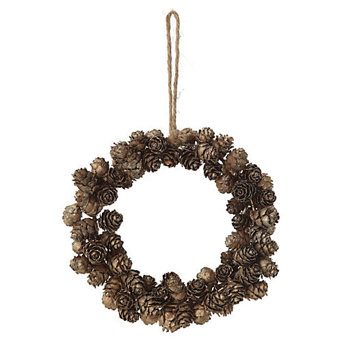 Pinecone Wreath Ornament, Natural/Gold