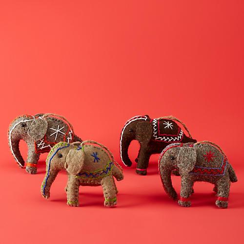 Asst. of 4 Elephant Ornaments, Gray/Multi