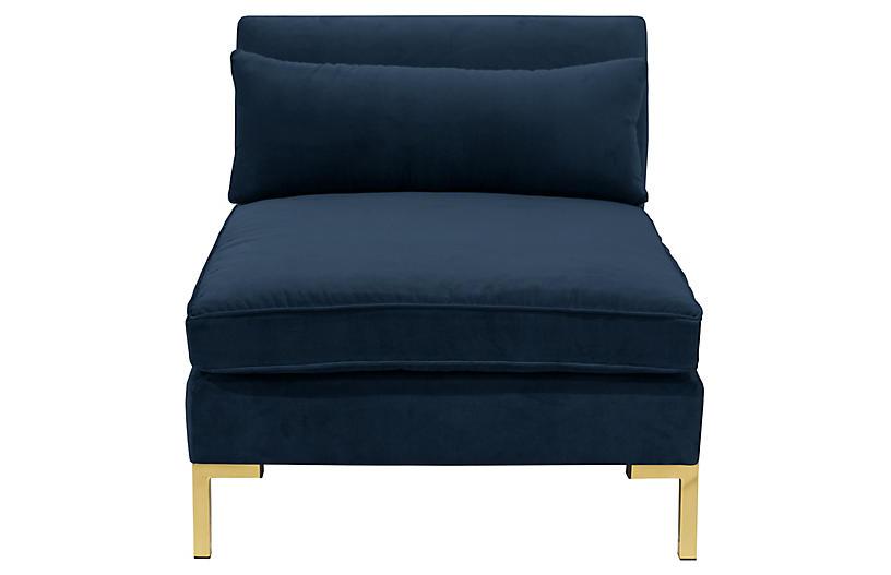 Marceau Slipper Chair, Navy Velvet