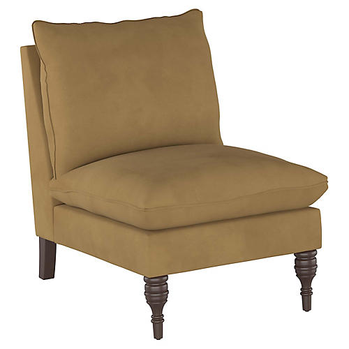 Daphne Slipper Chair, Sand Velvet