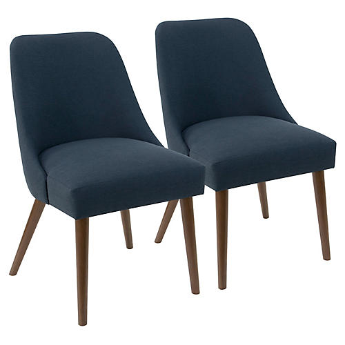 S/2 Barron Side Chairs, Navy