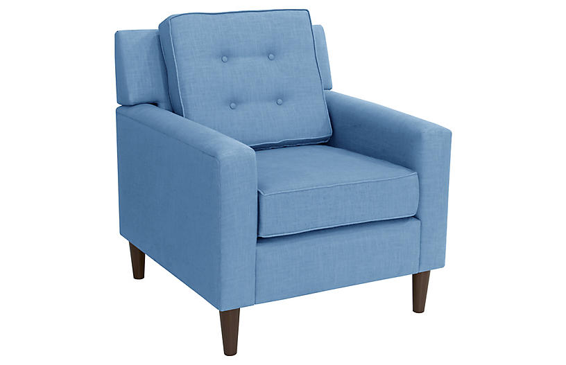Winston Club Chair, Blue Linen