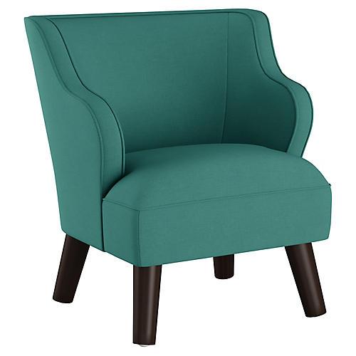 Kira Kids' Accent Chair, Teal Linen