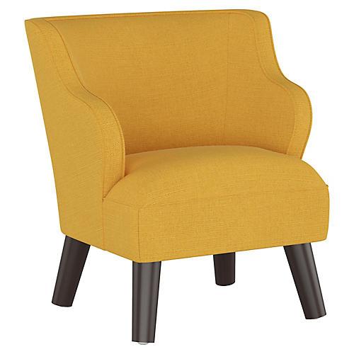 Kira Kids' Accent Chair, Mustard Linen