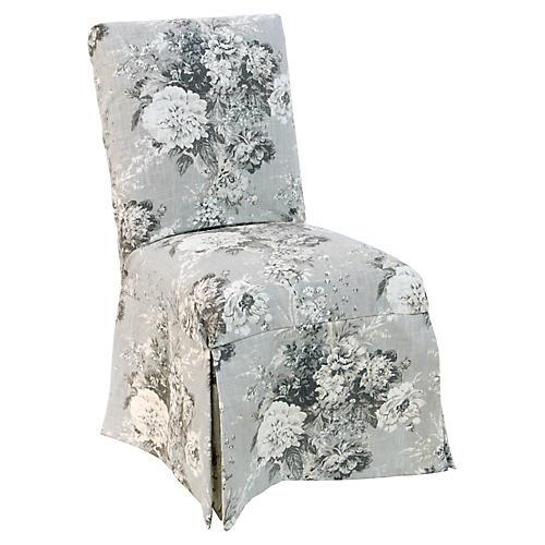 Owen Slipcover Side Chair, Platinum Floral Linen