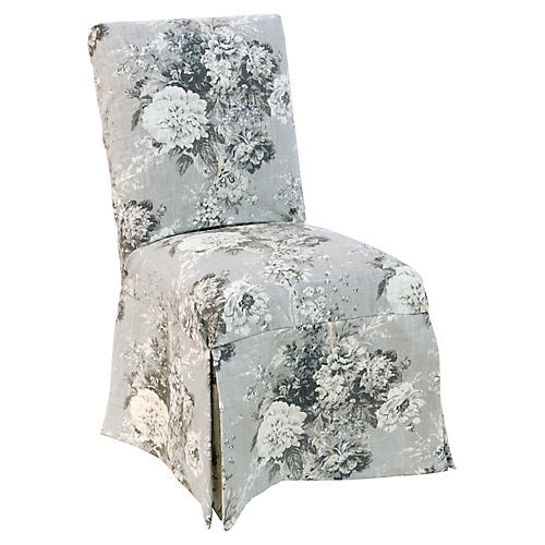 Owen Slipcover Side Chair, Platinum Floral