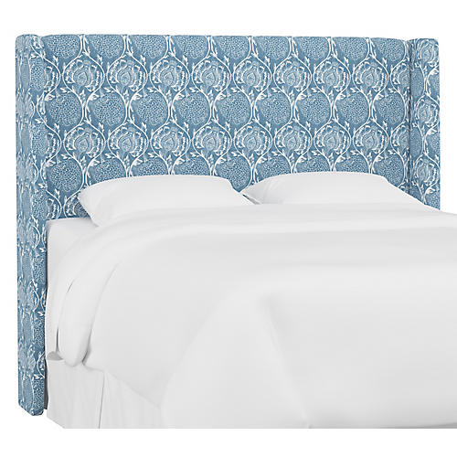 Kelly Wingback Headboard, Floral French Blue