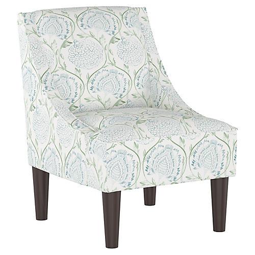 Quinn Swoop-Arm Chair, Floral Sage