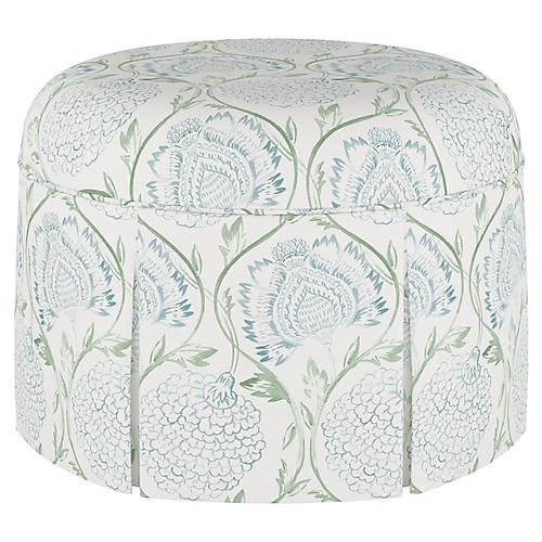 Liza Skirted Ottoman, Floral Sage