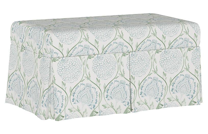Hayworth Storage Bench, Floral Sage