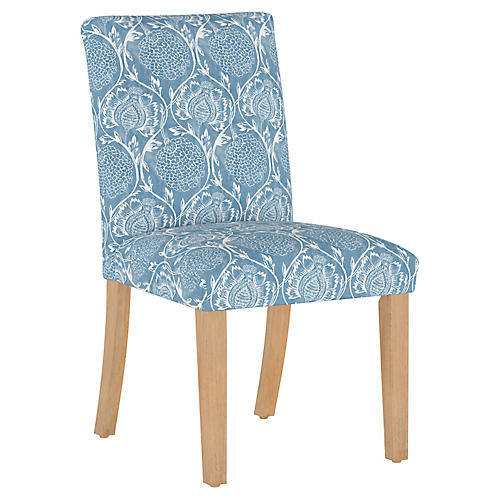 Shannon Side Chair, Floral French Blue