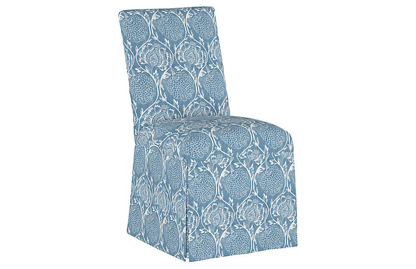 Owen Slipcover Side Chair, Floral French Blue