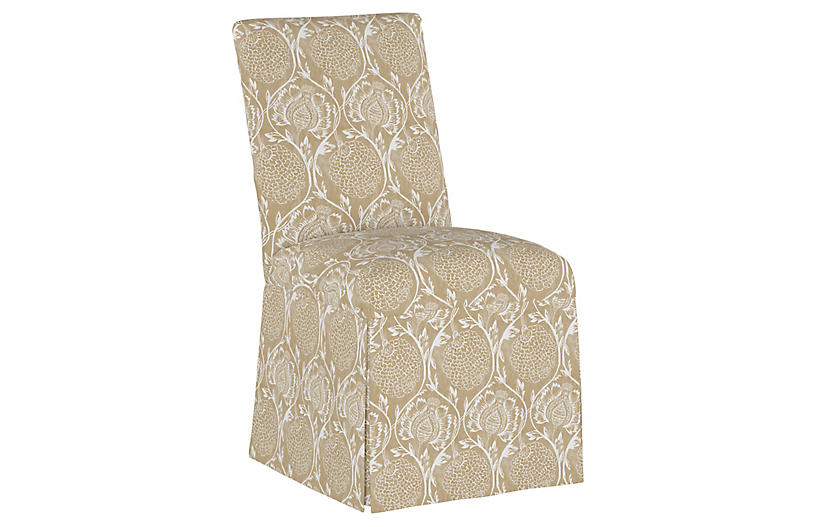 Owen Slipcover Side Chair, Floral Flax