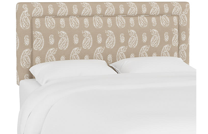 Collins Headboard, Tan Paisley