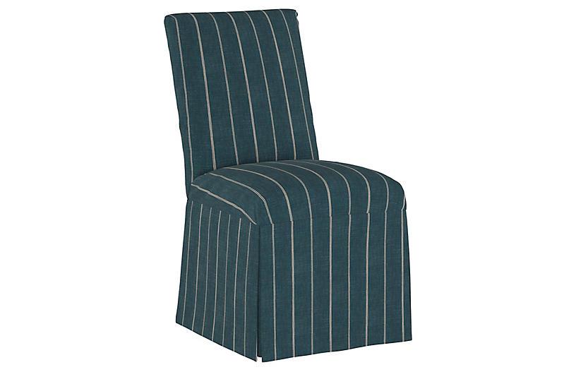 Owen Slipcover Side Chair, Fritz Indigo